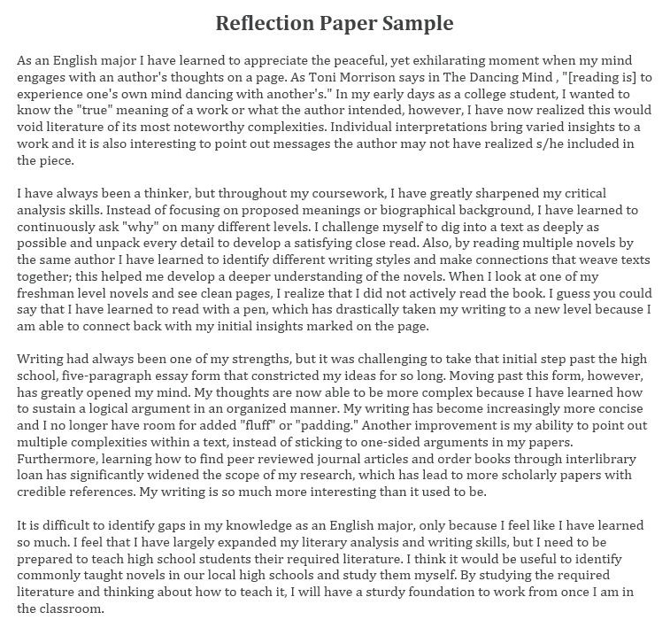 reflection paper sample